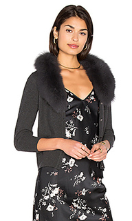 Blue fox fur collar cardigan - MILLY