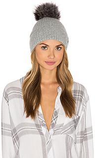 Лыжная шапочка с помпоном из меха азиатского енота - SAM.