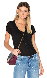Cap sleeve low neck henley tee - T by Alexander Wang