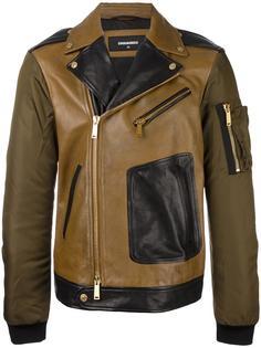 байкерская куртка с контрастными рукавами Dsquared2