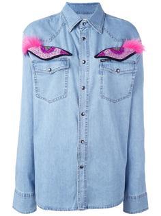 джинсовая рубашка с аппликацией глаз Forte Couture