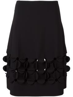 юбка А-образного силуэта с цветочными аппликациями Paskal