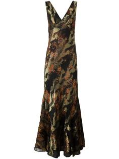 вышитое вечернее платье с V-образным вырезом Etro