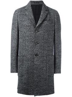 тканое однобортное пальто  Z Zegna