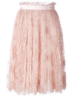 плиссированная кружевная юбка Alexander McQueen