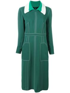 topstitch detail georgette dress Burberry Runway