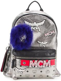 logo print metallic backpack MCM