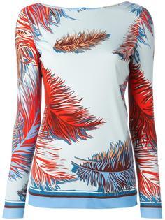 блузка с принтом перьев  Emilio Pucci
