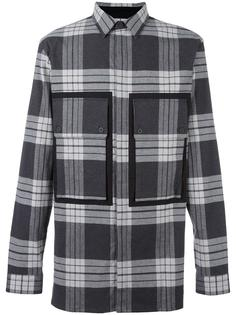 рубашка в клетку с накладными карманами Helmut Lang