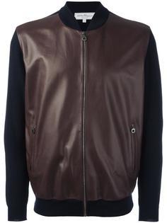 куртка-бомбер с кожаными панелями Salvatore Ferragamo
