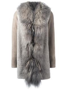пальто миди с меховой оторочкой Borbonese