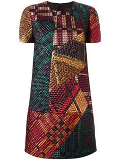 платье шифт с комбинированным принтом Burberry Runway