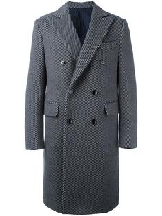 полосатое двубортное пальто Mp  Massimo Piombo