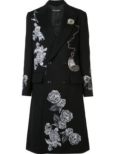 embroidered appliqué roses coat Dolce & Gabbana