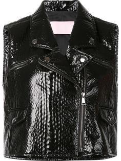 sleeveless textured biker jacket Giamba