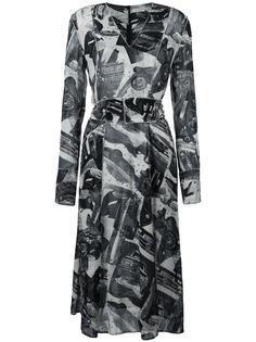 платье с V-образным вырезом и абстрактным принтом Veronique Leroy
