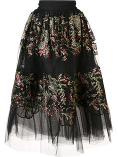 floral embroidered sheer skirt Marchesa