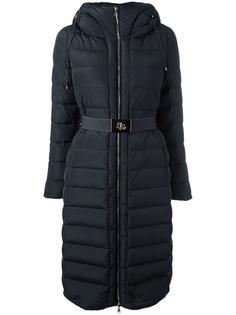пальто с капюшоном и поясом Moncler