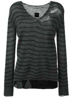 striped distressed fine knit jumper Rta