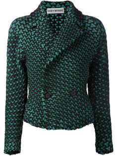 geometric pattern double breasted jacket Issey Miyake