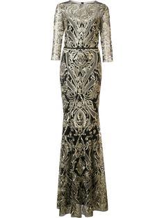 brocade long dress Marchesa Notte