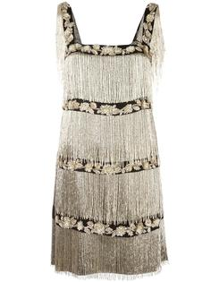декорированное платье с бахромой Alberta Ferretti