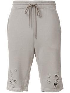 спортивные шорты с потертой отделкой Miharayasuhiro