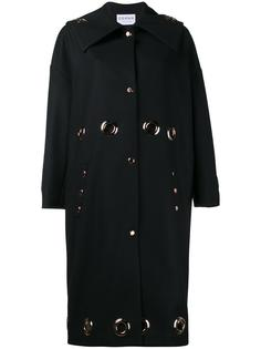 grommet embellished oversized coat Osman