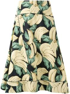 юбка А-силуэта с принтом бананов Muveil