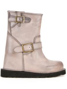 contrast stitching buckled boots Maison Mihara Yasuhiro