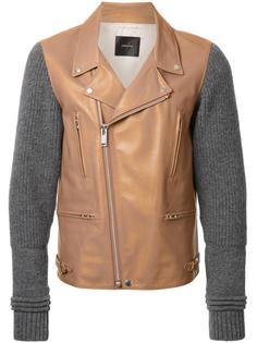 байкерская куртка с вязаными рукавами Undercover