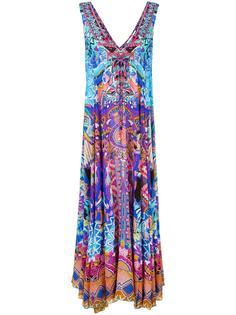 длинное платье с рисунком и блестящей отделкой Camilla