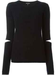 свитер ребристой вязки с разрезами на локтях Ann Demeulemeester