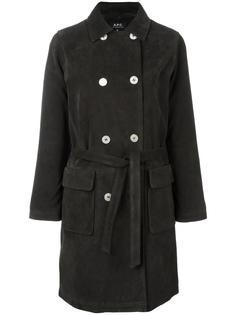 двубортное пальто с поясом A.P.C.