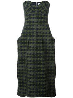 платье-бюстье длины миди с драпировками Victoria Beckham