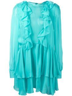 полупрозрачное мини-платье с оборками Daniele Carlotta