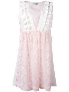 вышитое платье с цветочным узором Fendi