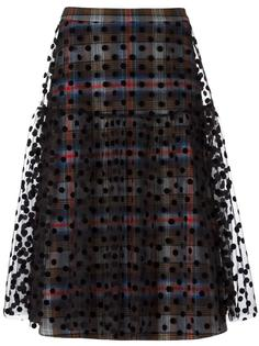 клетчатая юбка с прозрачной отделкой Paskal