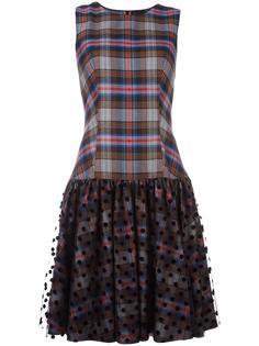 расклешенное клетчатое платье Paskal