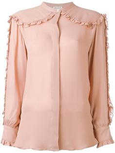 collarless ruffled detailing shirt Masscob