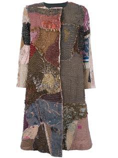 окрашенное вручную пальто лоскутного кроя  By Walid