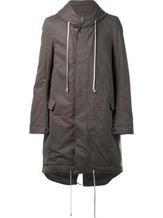 padded fishtail hooded coat Rick Owens DRKSHDW