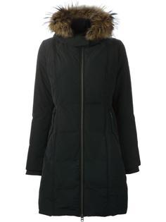дутое пальто с меховым воротником Woolrich