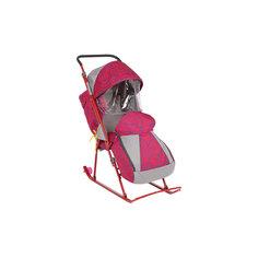 Санки-коляска Снежинка премиум, Galaxy, амуры/красный