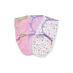 Конверт на липучке SwaddleMe, размер S/M, (3шт), Summer Infant, розовый с совами