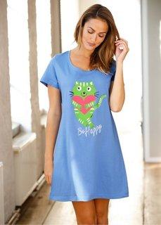 Ночная сорочка (голубой с рисунком) Bonprix