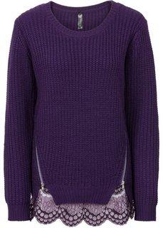 Пуловер крупной вязки с кружевной отделкой (черный) Bonprix