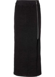 Плотная юбка с разрезом (серый меланж) Bonprix