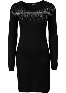 Вязаное платье с аппликацией пайетками (кленово-красный/серебристый) Bonprix