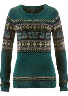 Пуловер с круглым вырезом (кремовый с узором) Bonprix